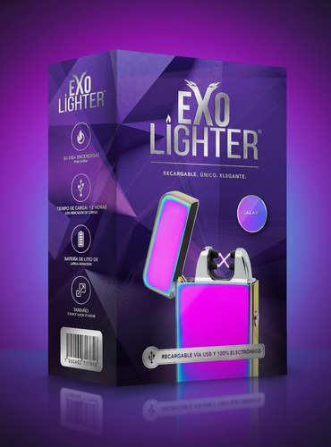 exo lighter - galaxy - encendedor electrónico de plasma