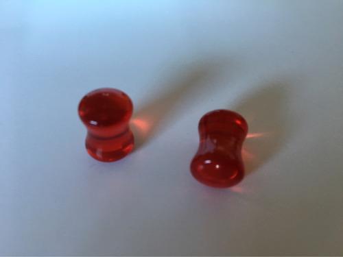expansores acrílico rojo *brillan en la oscuridad*!!!!
