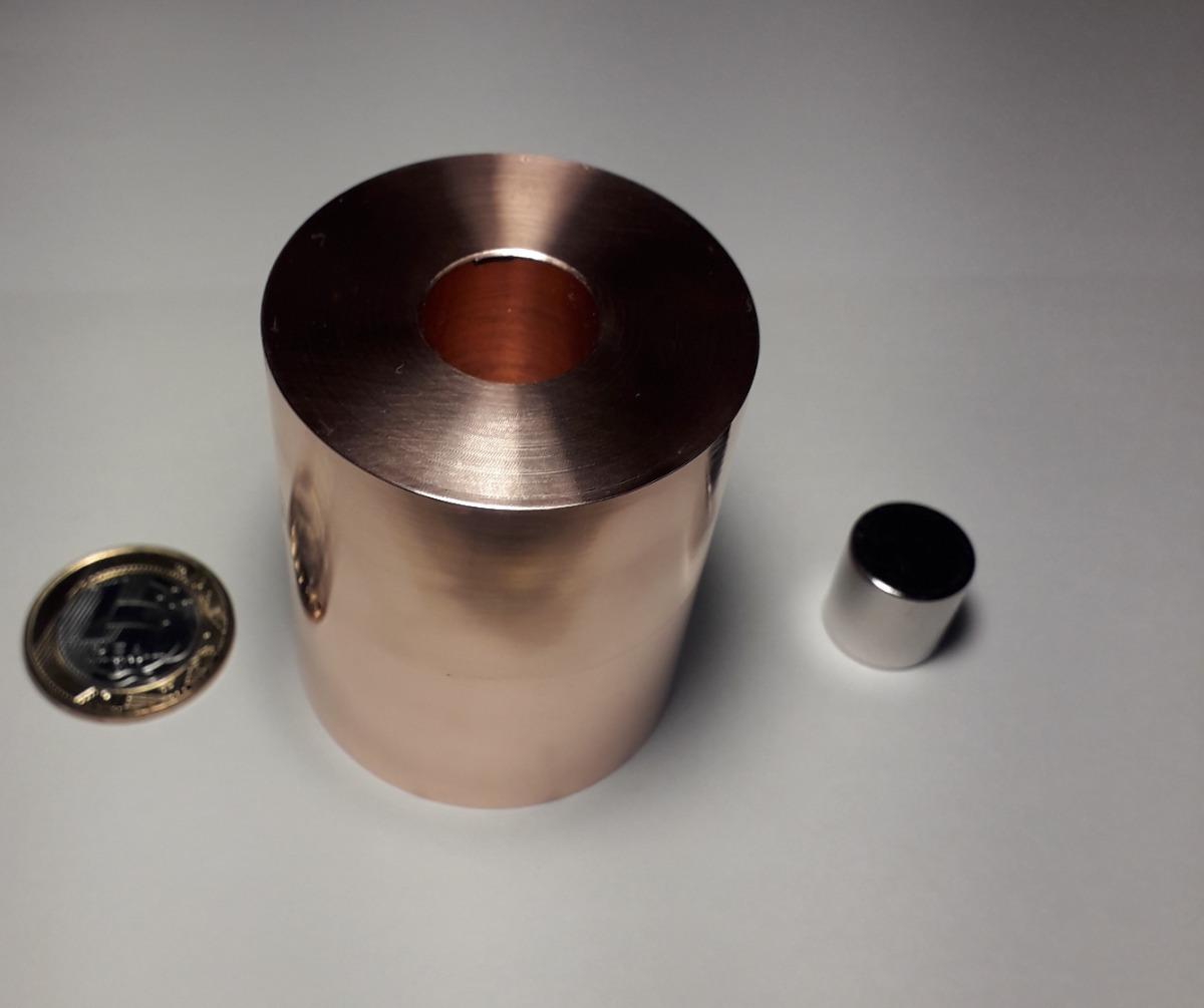 431405f4f11 experimento de física lei de lenz tubo de cobre 50mmx59mm. Carregando zoom.