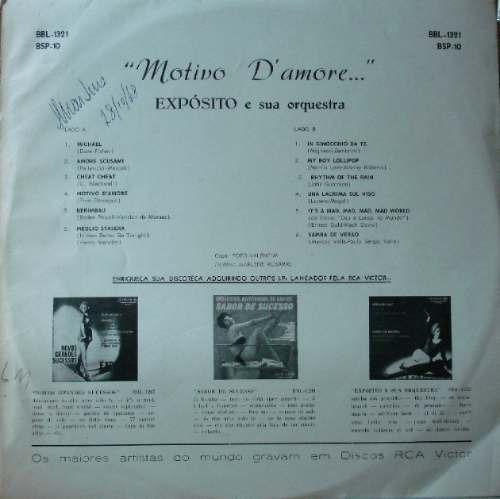 expósito e sua orquestra motivo d'amore - lp rca 1964