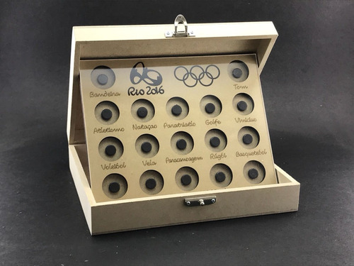 expositor de moedas - olimpiadas 2016 - com caixa e acrilico