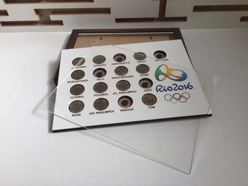 expositor de moedas - olimpiadas 2016 - quadro com acrilico