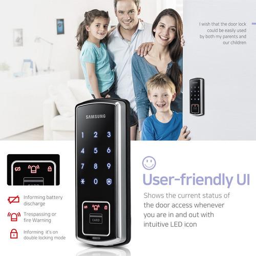 [express] samsung digital door rim lock shs-d600 + 4 keytag