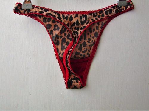 express tanga de seda leopardo y rojo extrachica