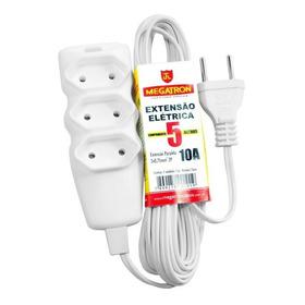 Extensão Elétrica 2p 10a Branco - 5 Metros - Megatron