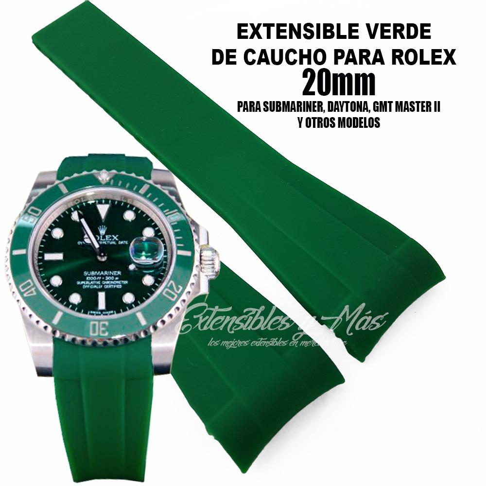 Verde Correa Reloj Para Rolex Caucho 20mm Extensible yvb6gfY7