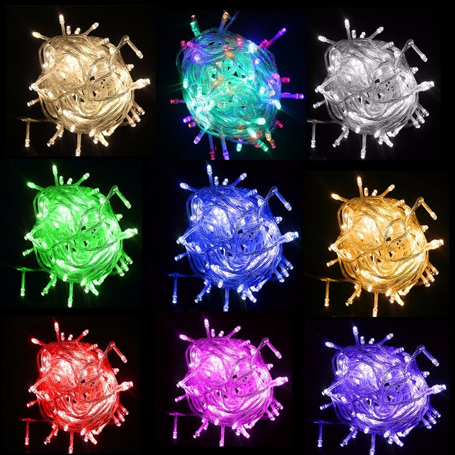 fef535b4f9f extensión 100 luces led 10m cable transparente todos colores. Cargando zoom.
