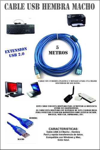 extension cable usb 5 metros macho-hembra laptop impresora