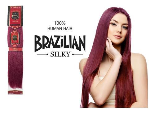 extension de cabello brazilian 18 plg 100% natural borgoña