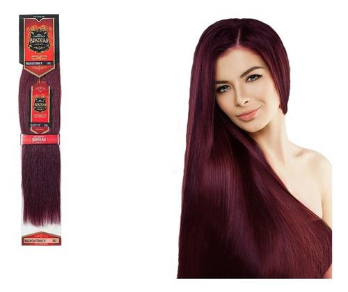 extension de cabello brazilian 18 plg 100% natural-rojo vino