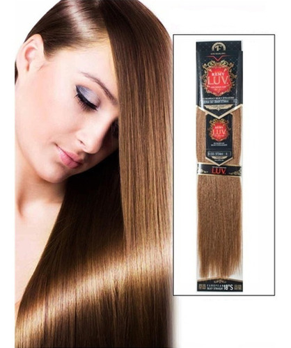 extension de cabello luv remy 22 plg 100% natural castaño