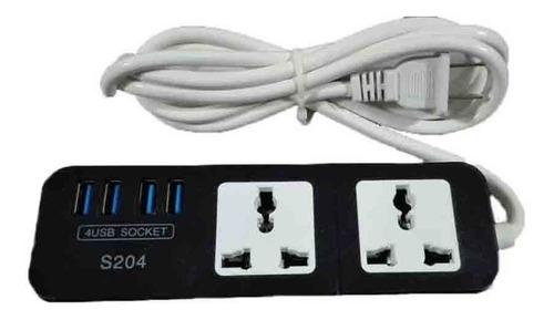 extension de corriente 2 tomas universales+4 puertos usb 4a