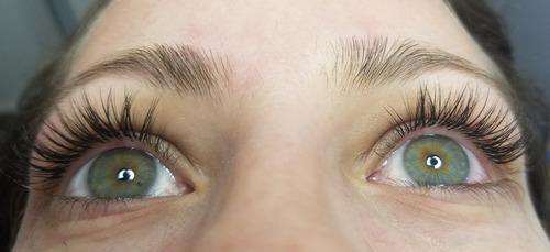 extension de pestañas pelo x pelo + perfilado de cejas