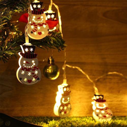 extensión luz led 157cm x10 luces inalambricas muñeco nieve