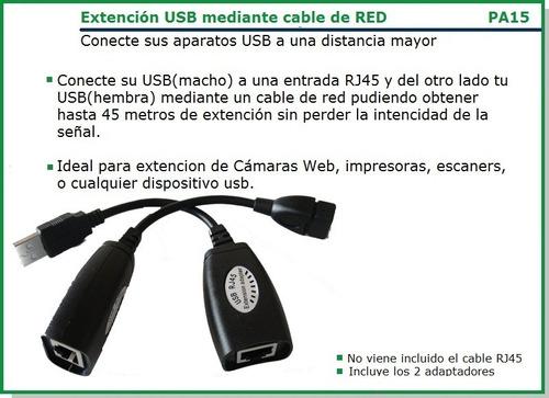 extensión usb por cable utp rj45 de red hasta 45m extensor