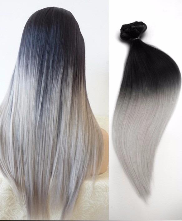 Extensiones cabello cortina negro plata env o gratis en mercado libre - Extensiones cortina ...