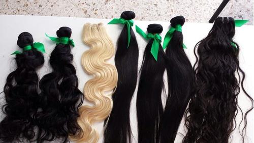extensiones de cabello 100% virgen, lacio, ondulado y chino
