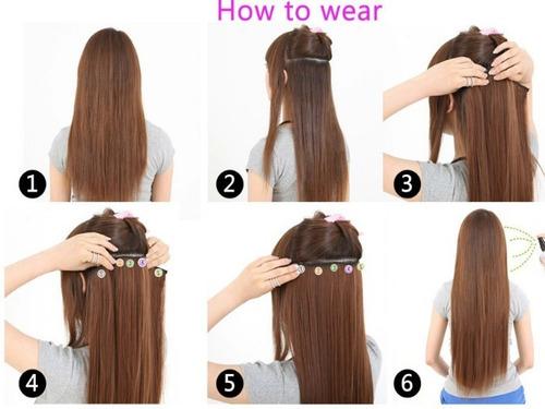 extensiones de cabello 5 clips ondulado