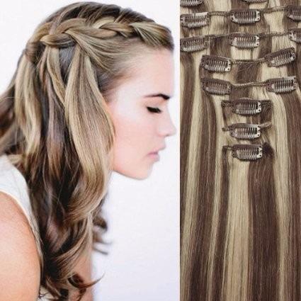 extensiones de cabello 7 piezas con mechas 100 natural