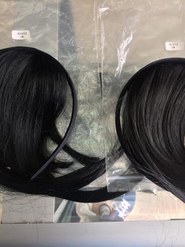 extensiones de cabello en flequillo,capul con diadema.bogota