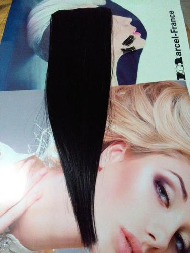 extensiones de cabello sintetico negras 15cm ancho x 60cm