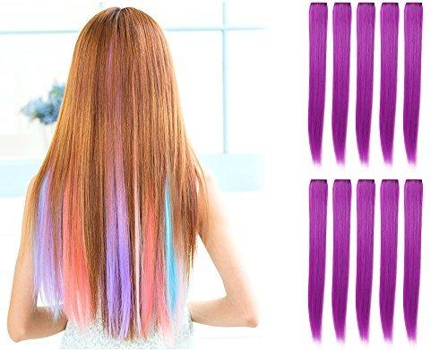 extensiones pelo onedor 23  12 colores surtidos 10pcs purpur