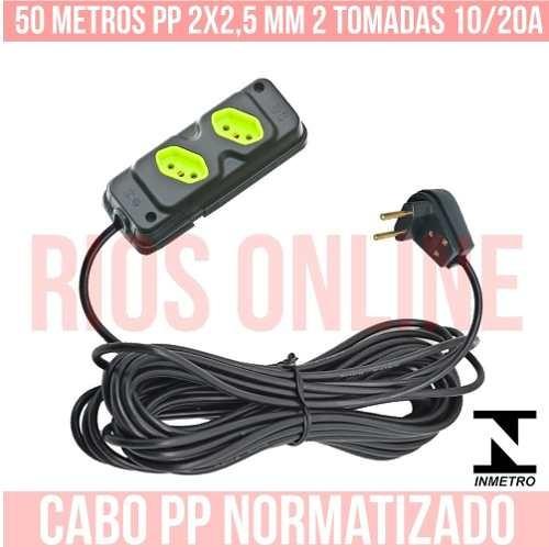 extensão elétrica 10/20a 50 metros 2 tomadas cabo pp 2x2,5mm