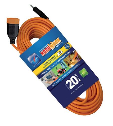 extensão elétrica 20m cabo pp laranja