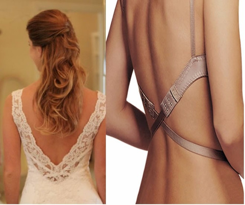 extensor costas decotadas para vestido de noiva cor bege