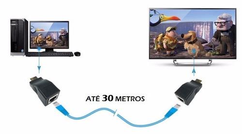 extensor hdmi 3d 30 metros via 1 cabo de rede rj45 cat5e/6