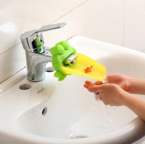extensor torneira crianças lavar mãos escovar dentes sapo