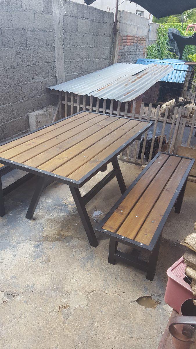 Mesa y bancos para exterior en madera y hierro - Mesas madera exterior ...