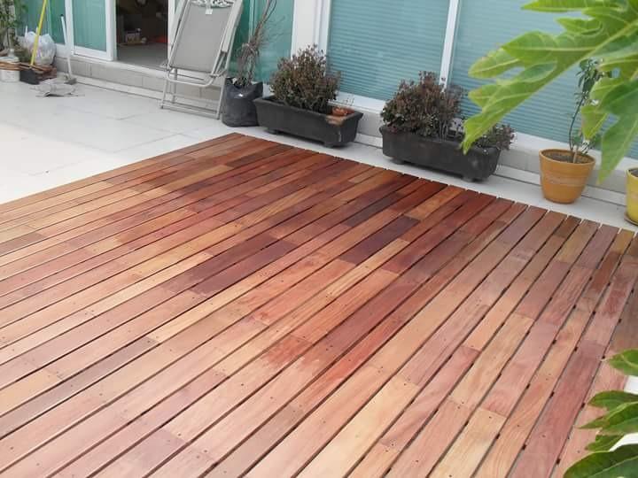 Exterior piso madera solida deck cumaru en for Pisos de madera para exteriores