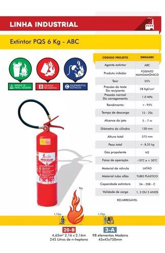 extintor abc 6kg pó validade de 5 anos até 2024 - suporte/nf