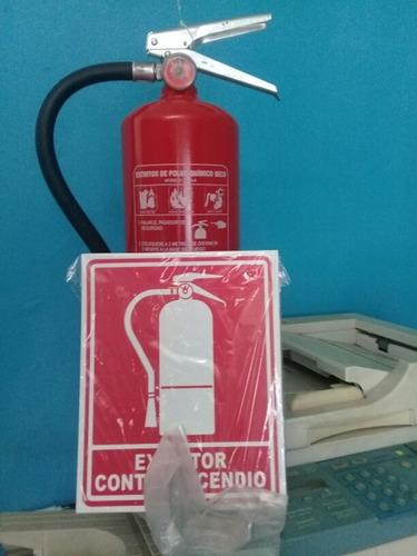 extintor de 10 lbs nuevo con gancho y letrero