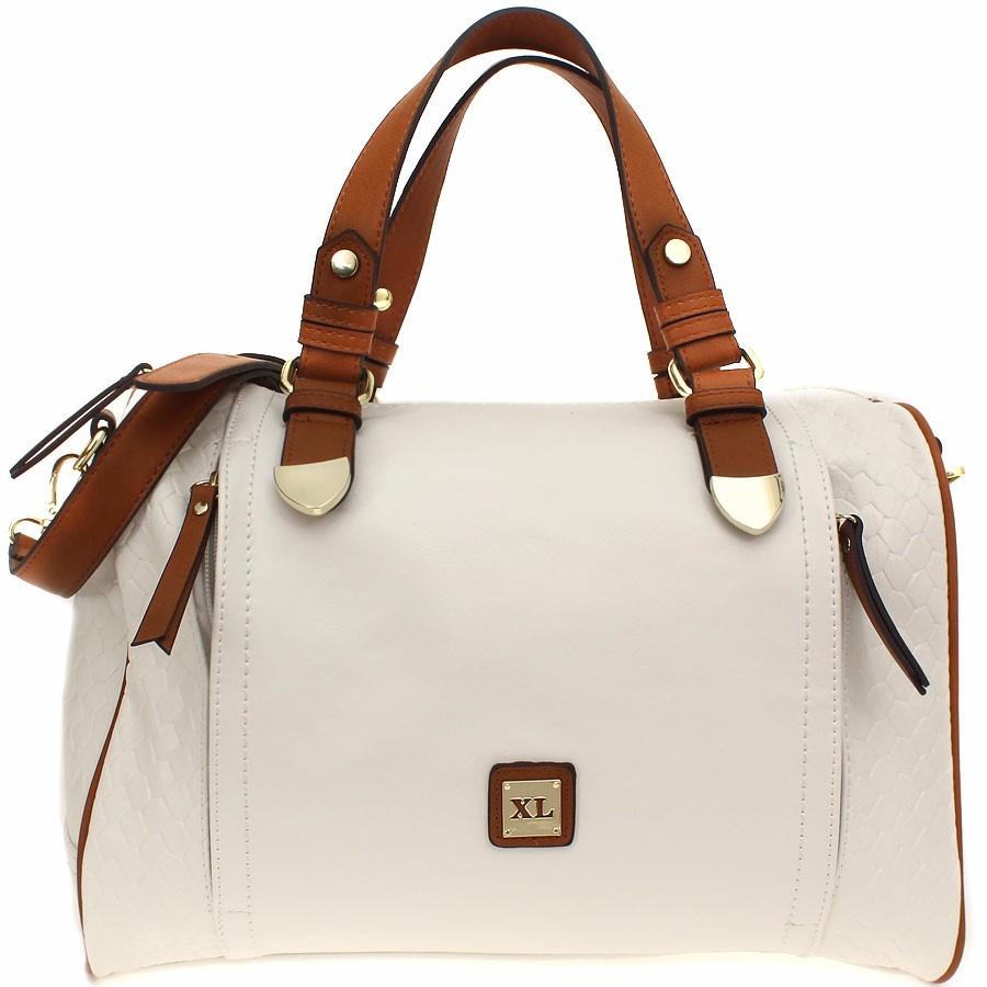 5a7067617 Extra Large Cartera Baul Color Blanco Y Marron Cuero Eco - $ 1.498 ...
