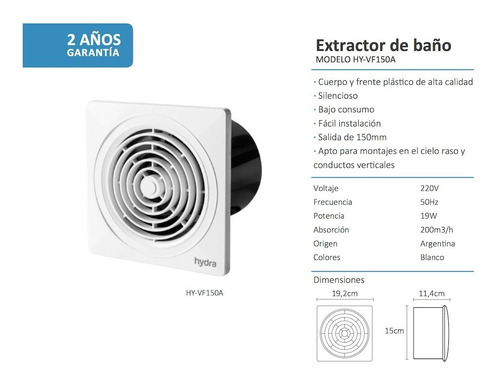 extractor aire baño hydra ø 6 pulg 150 mm 15 emv