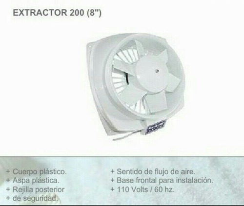 extractor de aire 8 pulgadas taurus nuevo plástico oferta