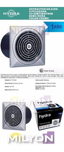 extractor de aire hydra 100mm cromo cocina baño silencioso