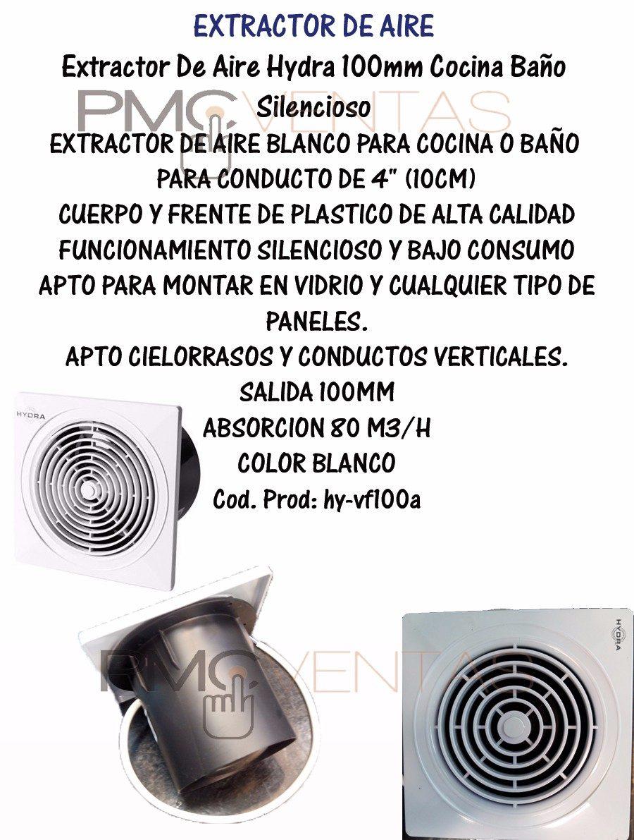 Extractor De Aire Hydra Blanco 100mm Cocina Baño Silencioso - $ 339 ...