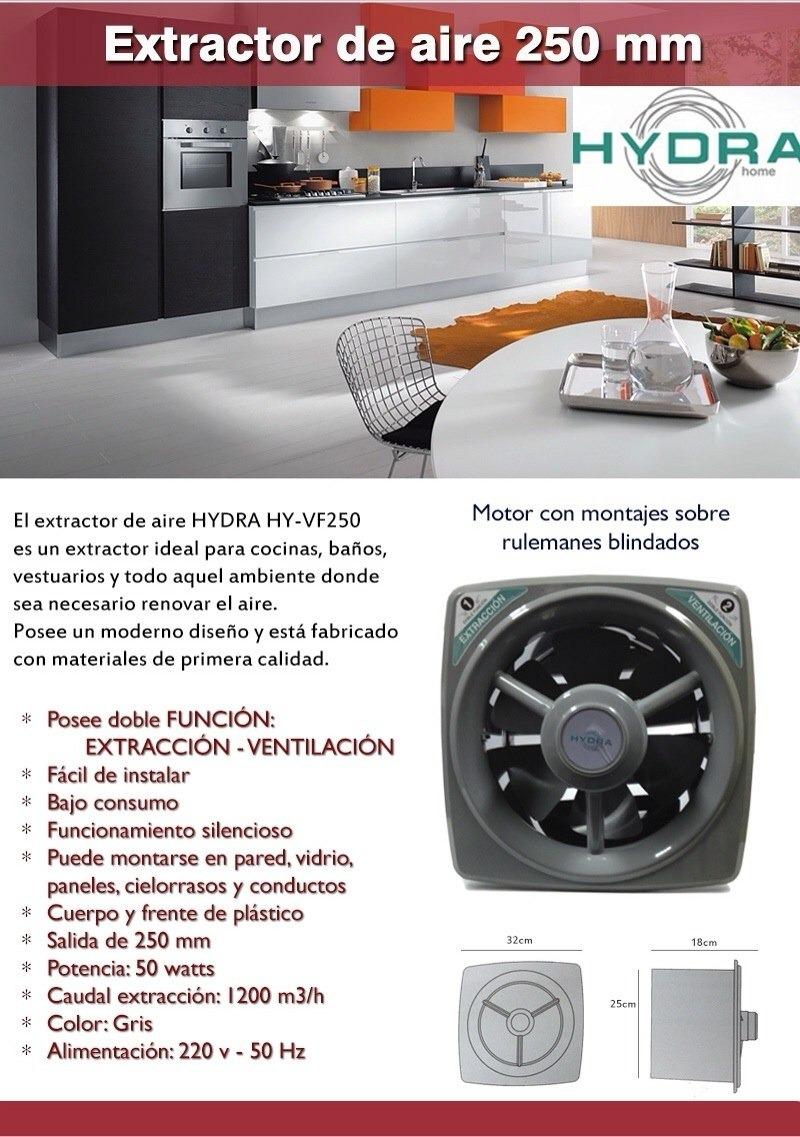 Extractor De Aire Hydra Hy-vf 250mm Cocina Baño Silencioso - $ 925 ...