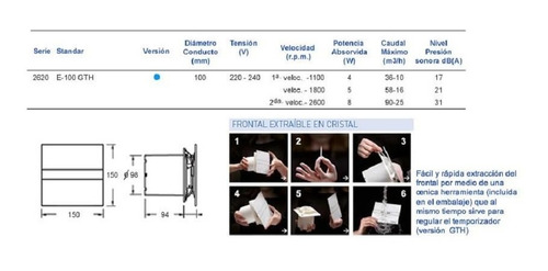 extractor de aire mod. eglass display 10