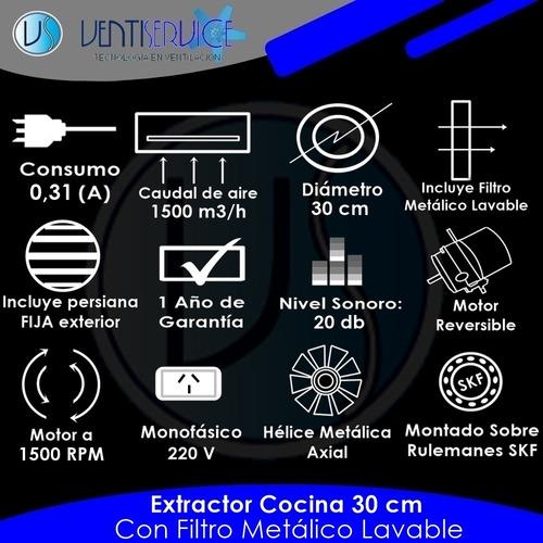 extractor de cocina acero ø 30 cm con rulemanes envio gratis