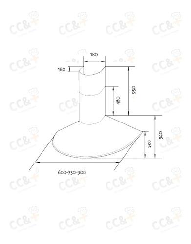extractor de cocina tst circular 60cm sin filtro inox envios
