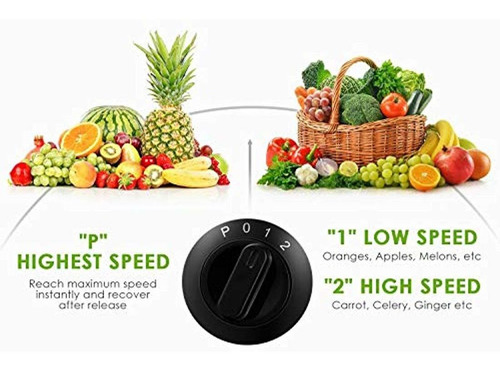 extractor de jugo de frutas y verduras de 3 velocidades