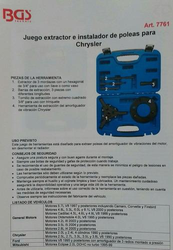 extractor de polea  damper  gm, chrysler,  mitsubishi