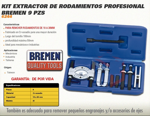extractor rodamientos rulemanes bremen kit 9pz 10a30mm cepo