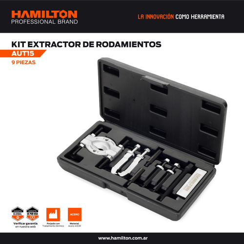 extractor ruleman rodamientos kit 9pcs maletin hamilton