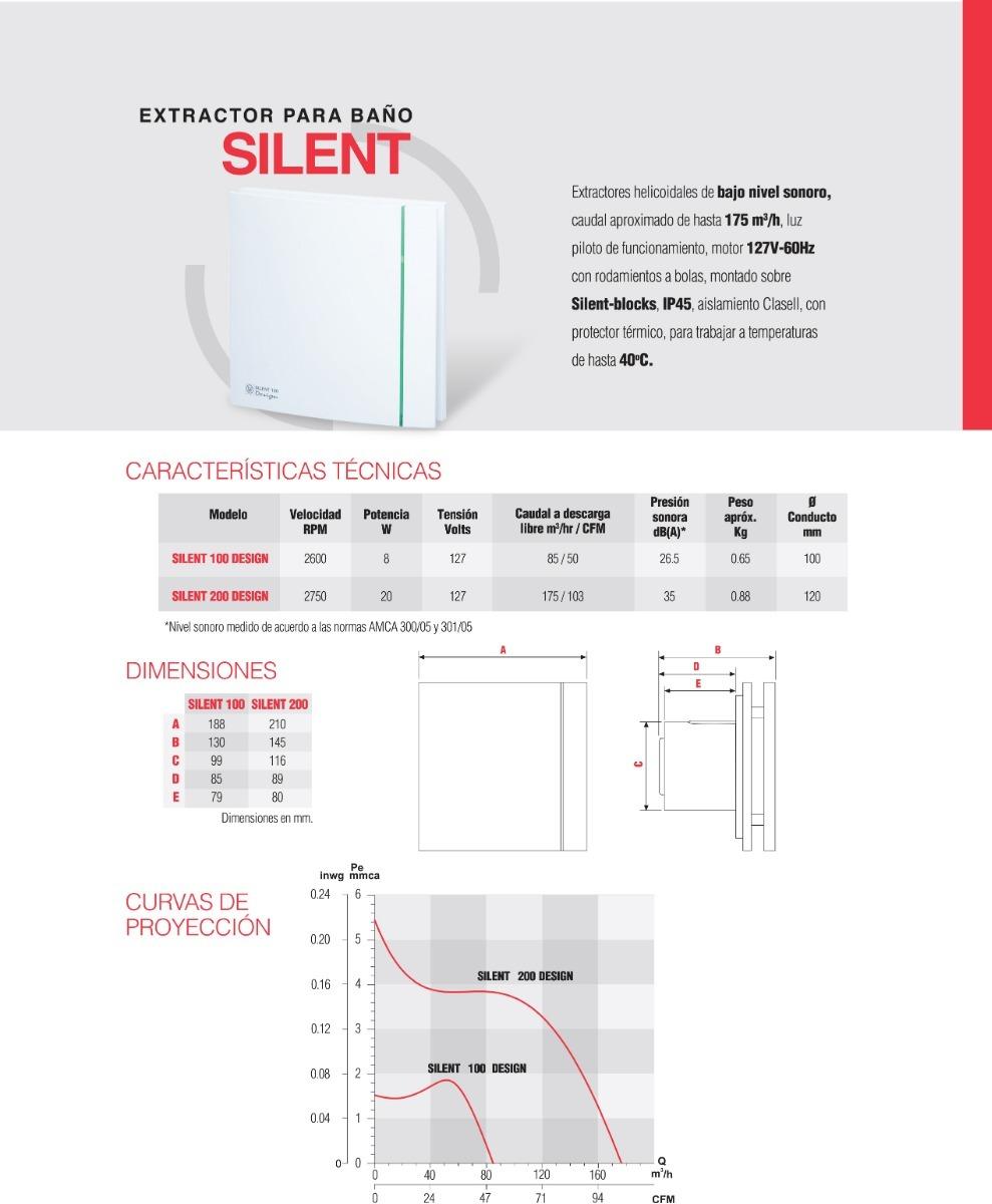 Extractor silencioso para ba o 4 pulg silent 100 design s - Extractor bano silencioso ...
