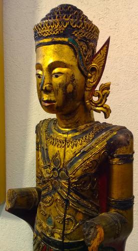 extraordinaria  escultura en madera siglo 18 * buda-siam*